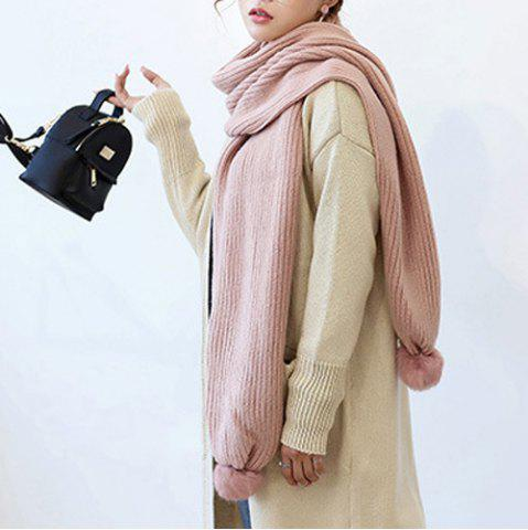 Unique Winter Faux Fur Ball Knitted Long Scarf - LIGHT PINK  Mobile