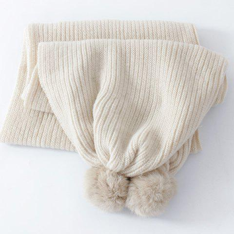 Cheap Winter Faux Fur Ball Knitted Long Scarf - OFF-WHITE  Mobile
