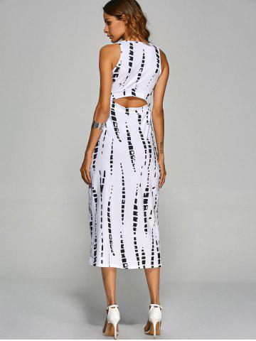 Store Jewel Neck Tie-Dyed Back Cut Out Bodycon Midi Dress - S WHITE Mobile