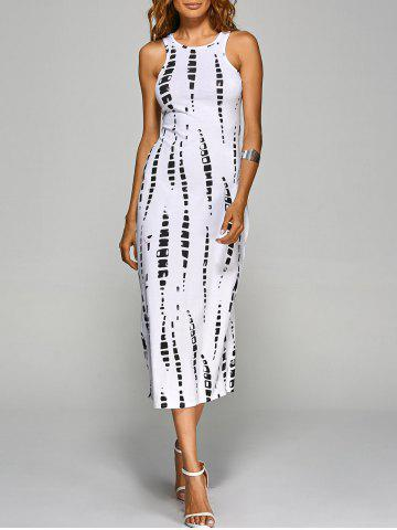 Jewel Neck Tie-Dyed Back Cut Out Bodycon Midi Dress - White - S