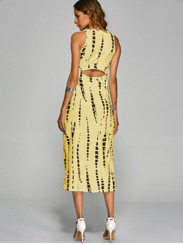 Buy Jewel Neck Tie-Dyed Back Cut Out Bodycon Midi Dress - M YELLOW Mobile