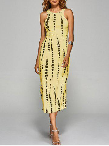 Jewel Neck Tie-Dyed Back Cut Out Bodycon Midi Dress - Yellow - M
