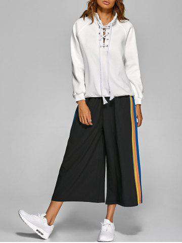 Fashion Drawstring Striped Culotte Pants