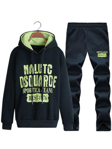 Discount Pullover Letter Printed Hoodie + Sweatpants Twinset CADETBLUE 4XL
