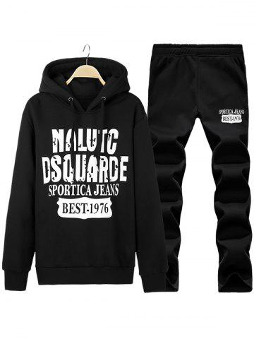 Pullover Letter Printed Hoodie + Sweatpants Twinset