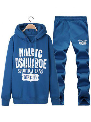 Pullover Letter Printed Hoodie + Sweatpants Twinset - Blue - M