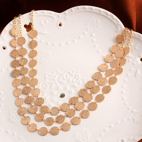 Online Alloy Disc Circle Sequins Layered Necklace - GOLDEN  Mobile
