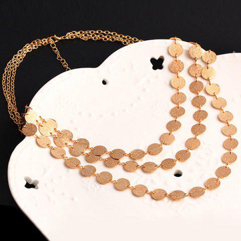 Trendy Alloy Disc Circle Sequins Layered Necklace - GOLDEN  Mobile