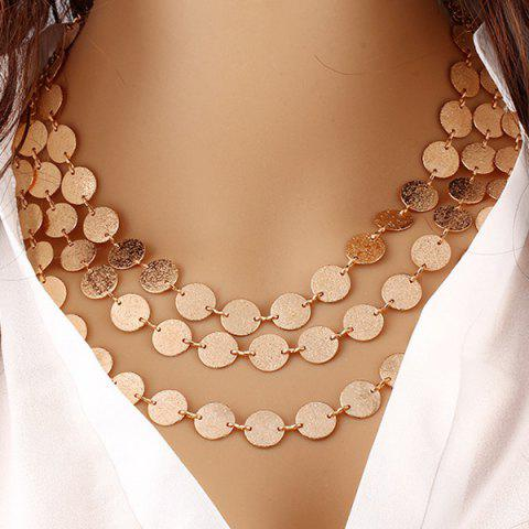 Alloy Disc Circle Sequins Layered Necklace - Golden