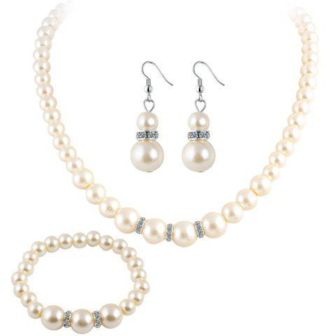 Online Faux Pearl Beaded Necklace Bracelet and Earrings - WHITE  Mobile