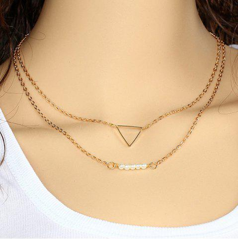 Trendy Faux Pearl Triangle Pendant Layered Necklace - GOLDEN  Mobile