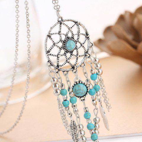 Fancy Faux Turquoise Feather Beads Sweater Chain - SILVER  Mobile