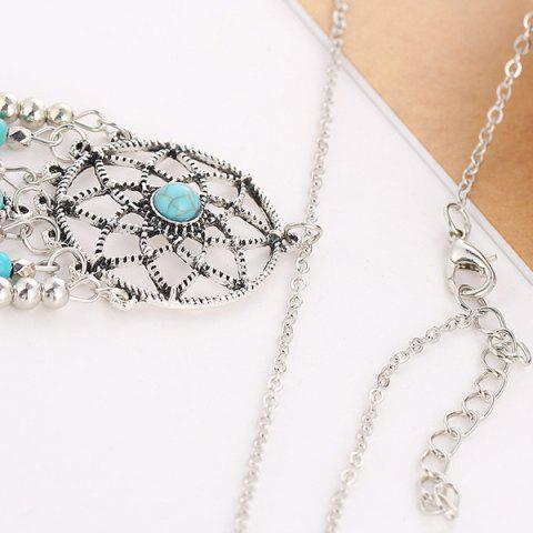 Trendy Faux Turquoise Feather Beads Sweater Chain - SILVER  Mobile