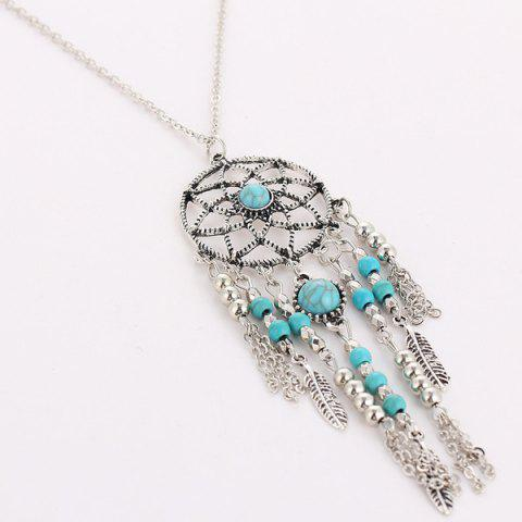 Shops Faux Turquoise Feather Beads Sweater Chain - SILVER  Mobile