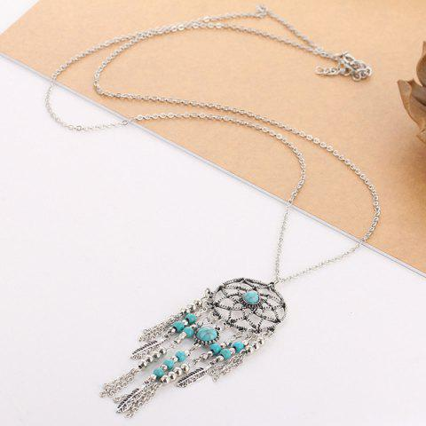 Fashion Faux Turquoise Feather Beads Sweater Chain - SILVER  Mobile
