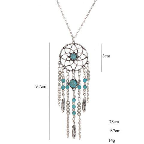 Buy Faux Turquoise Feather Beads Sweater Chain - SILVER  Mobile