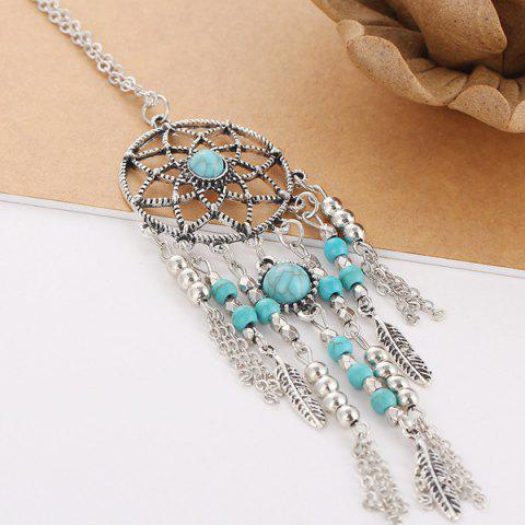Sale Faux Turquoise Feather Beads Sweater Chain - SILVER  Mobile