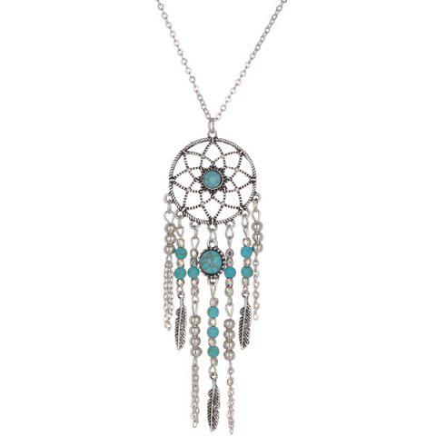Faux Turquoise Feather Beads Sweater Chain - SILVER