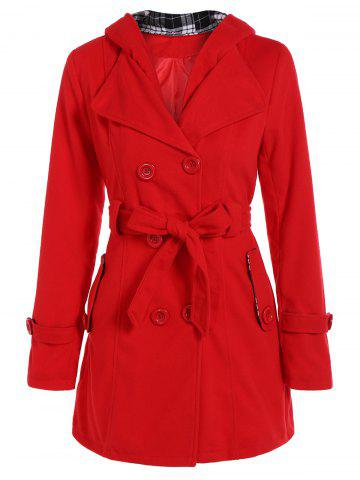 Sale Hooded Double Breasted Belted Long Trench Coat RED 2XL