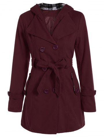Hooded Double Breasted Belted Trench Coat - WINE RED 2XL