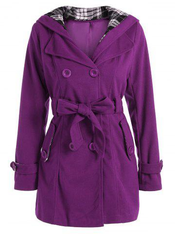 Hooded Double Breasted Belted Long Trench Coat - Purple - M