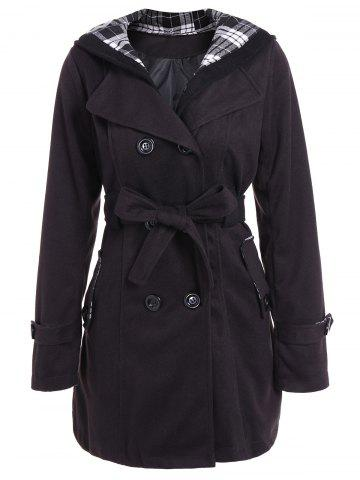 Hooded Double Breasted Belted Long Trench Coat - Black - S