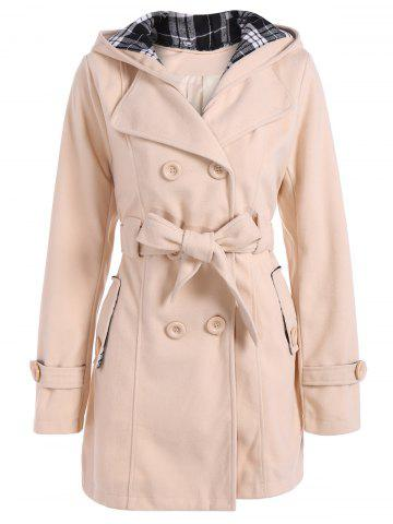 Hooded Double Breasted Belted Long Trench Coat - Off-white - L
