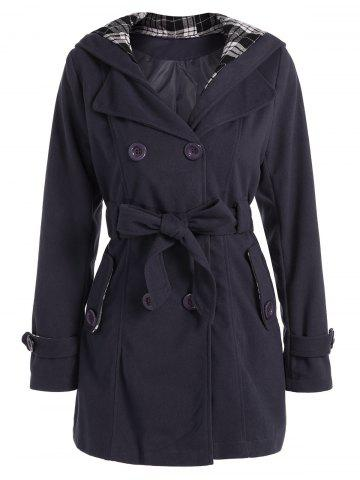 Hooded Double Breasted Belted Long Trench Coat - Deep Gray - 2xl