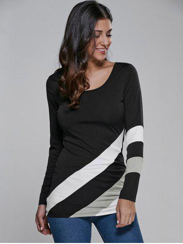 Sale Color Block Long Sleeve Fitted T-Shirt WHITE AND BLACK M