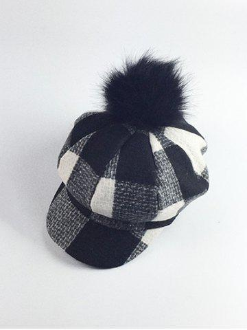 Outfit Retro Pom Ball Embellished Newsboy Hat BLACK