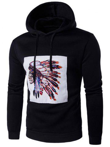 Hooded Indian Skull Printed Long Sleeve Hoodie - BLACK 2XL
