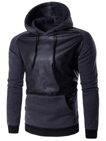 Hooded PU Leather Panel Raglan Sleeve Hoodie