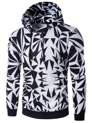 Best Hooded Irregular Rhombus Print Long Sleeve Hoodie COLORMIX 2XL