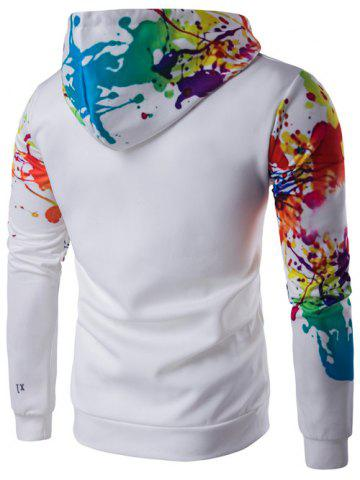 Latest Splatter Paint Long Sleeve Hoodie - M WHITE Mobile