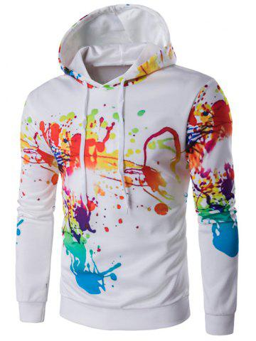 Online Splatter Paint Long Sleeve Hoodie - M WHITE Mobile