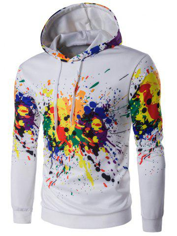 Cheap Hooded Colorful Splatter Paint Long Sleeve Hoodie WHITE 2XL