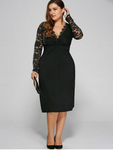 Sale Plus Size Twist Front Formal Dress with Lace Sleeves - 4XL BLACK Mobile