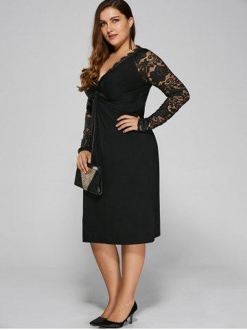 Chic Plus Size Twist Front Formal Dress with Lace Sleeves - 4XL BLACK Mobile