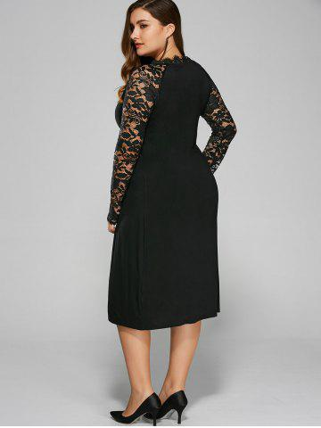 Latest Plus Size Twist Front Formal Dress with Lace Sleeves - 4XL BLACK Mobile