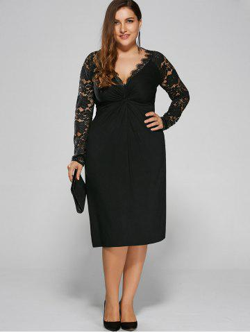 Cheap Plus Size Twist Front Formal Dress with Lace Sleeves BLACK 4XL