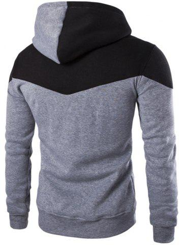Fashion Contrast Color Drawstring Pullover Hoodie - M LIGHT GRAY Mobile