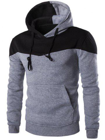 Hot Contrast Color Drawstring Pullover Hoodie - M LIGHT GRAY Mobile