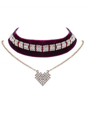 Best Rhinestone Velvet Heart Layered Choker