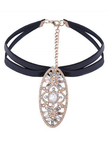 Sale Embellished Oval Rhinestone Layered PU Leather Choker