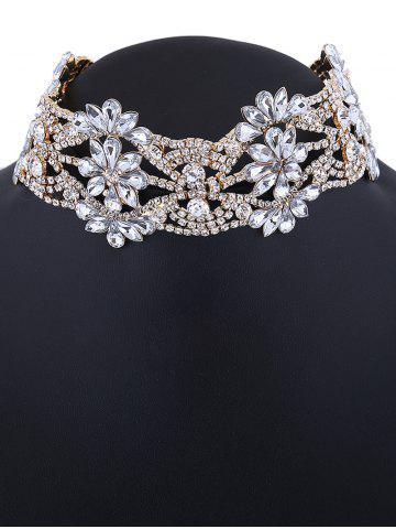 Hot Openwork Floral Rhinestone Choker Necklace - CHAMPAGNE  Mobile