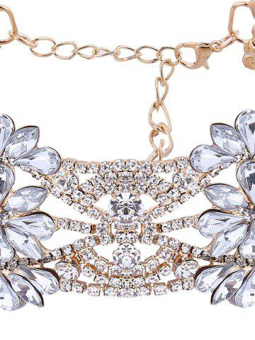 Fashion Openwork Floral Rhinestone Choker Necklace - CHAMPAGNE  Mobile
