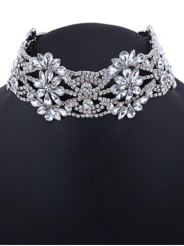 Hot Emboss Floral Rhinestone Choker Necklace - SILVER  Mobile