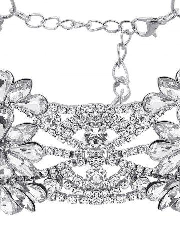 Fashion Emboss Floral Rhinestone Choker Necklace - SILVER  Mobile