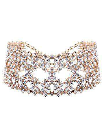 Outfits Openwork Tiered Rhinestone Wide Choker - CHAMPAGNE  Mobile