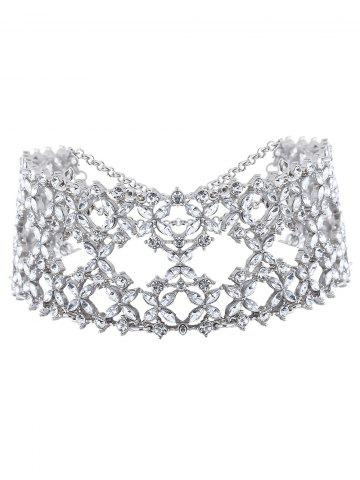 New Hollowed Tiered Rhinestone Wide Choker